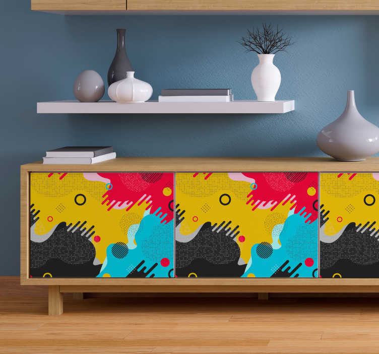TenStickers. Memphis style pattern furniture decal. Memphis style pattern furniture decal to apply on the surface of furniture in the home . Choose it in the best size option for a surface.