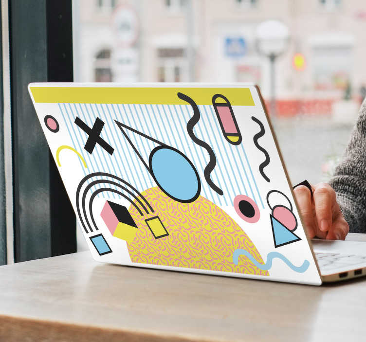TenStickers. Memphis style laptop skin. Laptop vinyl sticker with the design of an original abstract art in Memphis style. Choose the measurement that fit with a desires surface.