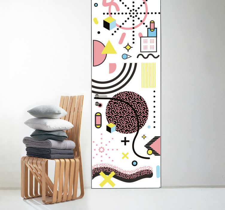 TenStickers. Memphis style  glass door sticker. Decorative vinyl door sticker with the design of abstracts art in Memphis style . Choose it in the best suitable size for a desires space.