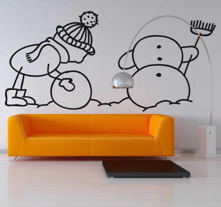 TenStickers. Wandtattoo Kinderzimmer Schneemann bauen. Gestalten Sie das Kinderzimmer mit diesem niedlichen Wandtattoo eines kleinen gezeichneten Jungen, der einen Schneemann baut.