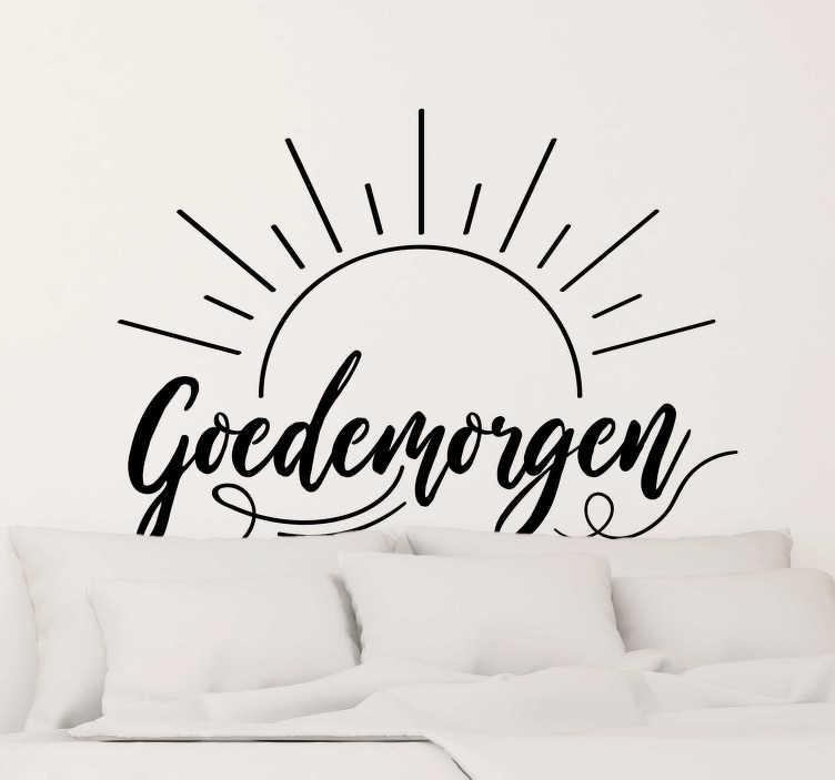 TenStickers. Muurstickers tekst Goedemorgen. Super leuke teskt goedemorgen slaapkamer muursticker! it goedemorgen sticker ontwerp is ideaal voor in uw slaapkamer Geniet van goedemorgen stickers!