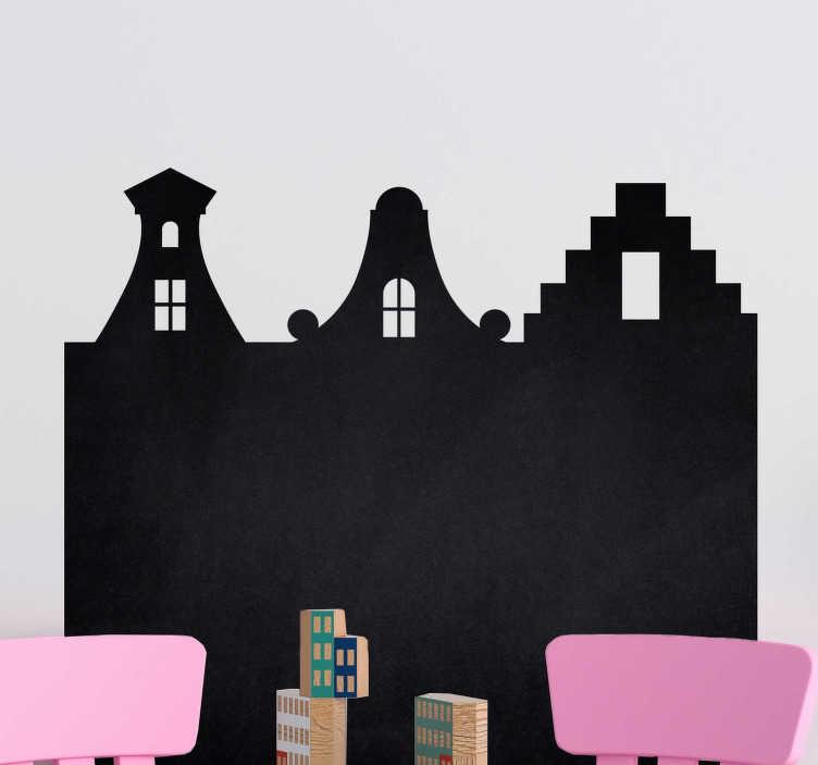 TenStickers. Muurstickers kinderkamer krijtbord grachten huisjes. Leuke krijtbord grachtenhuisjes muursticker voor in de eetkamer. Leuke krijtbord takenlijstjes muursticker of krijtbord weekplanning muur sticker!