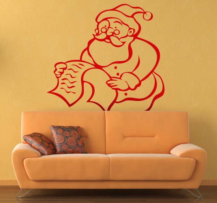 TenStickers. Sticker lettre au Père Noël. Stickers illustrant le Père Noël lisant une lettre.Adhésif applicable aussi bien dans un salon ou sur une vitrine de magasin à l'approche de la fête de Noël.