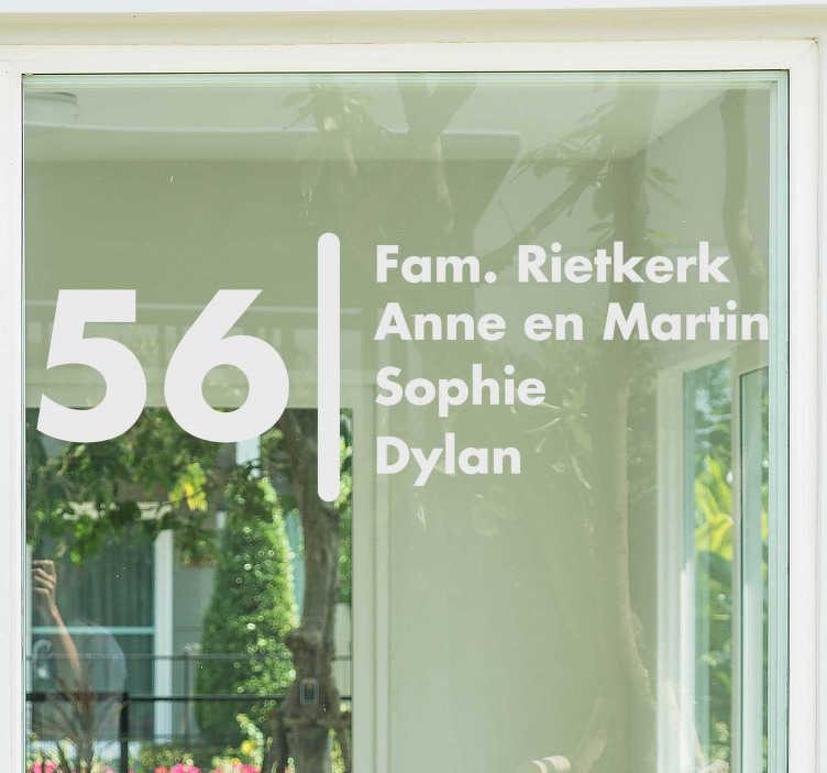 TenStickers. Muurstickers tekst Familie en adres. Mailbox stickers, een ideaal idee voor uw woning.Leuke familie naam raamsticker voor uw woning! Adres raamstickers op maat gemaakt!