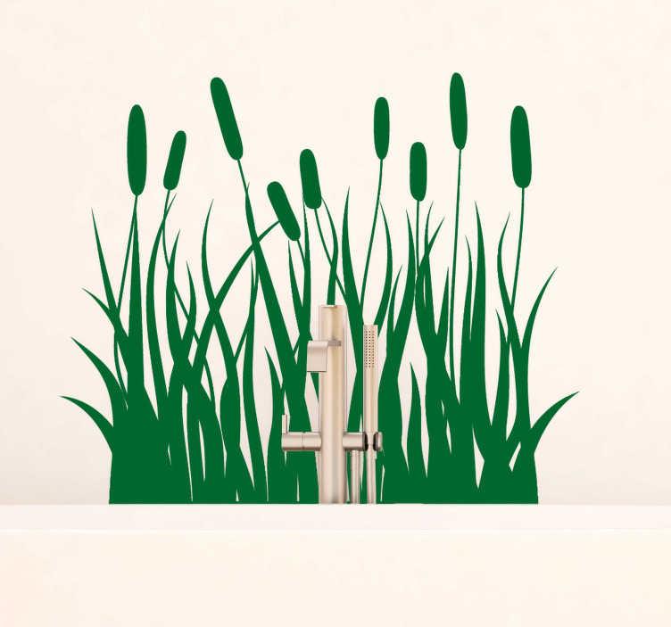 TenStickers. Sticker Salle de Bain Roseaux monocolorés. Représentant des silhouettes de roseaux monocolorés, ce sticker plante peut s'accorder à toute pièce à laquelle vous voulez donner une touche Nature.