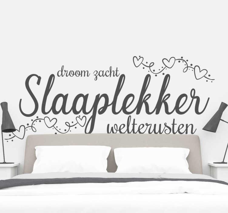 TenStickers. Muurstickers slaapkamer Slaaplekker. Leuke slaapkamer muursticker tekst slaaplekker en tekst slaapkamer stickers op maat gemaakt! Saaplekker sticker of weltrusten sticker voor slaapkamer!