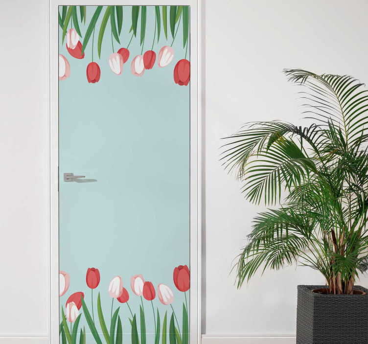 TenStickers. tulipans fields glass door sticker. This gorgeous tulipans fields illustration wall sticker is what you need for bringing in your house something really beatiful!