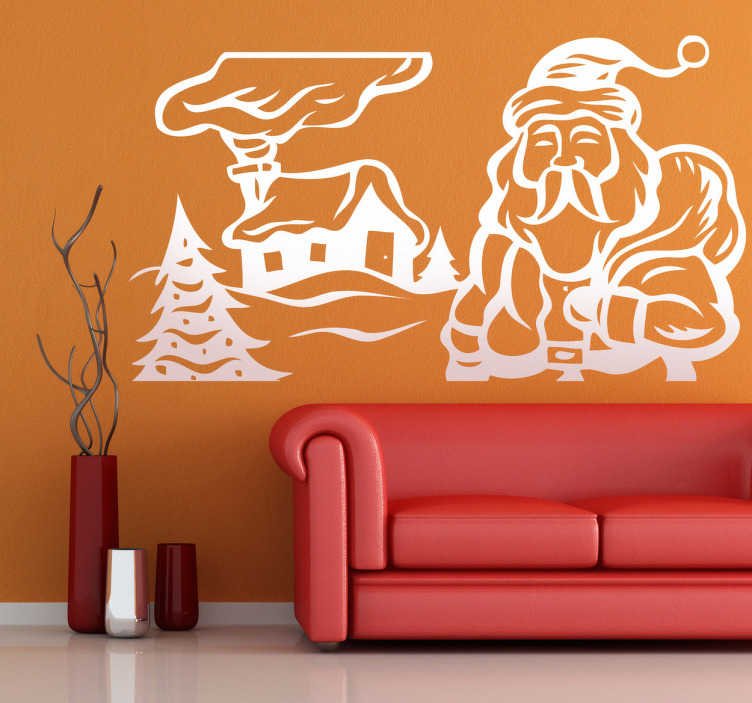 TenStickers. Sticker maison Père Noël. Stickers représentant le Père Noël entamant sa livraison de cadeaux de Noël.Adhésif applicable aussi bien dans un salon ou sur une vitrine de magasin à l'approche de la fête de Noël.