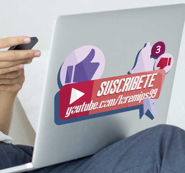 TenVinilo. Vinilo para negocio suscríbete youtube. Original pegatina adhesiva para portátil o tablet formada por varios iconos de YouTube y el nombre de tu canal. Fácil aplicación y sin burbujas.