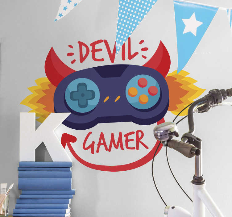TenStickers. devil gamer video game wall sticker. This amazing devil gamer video game sticker is perfect if you want to transform completely the room where you enjoy your gaming!