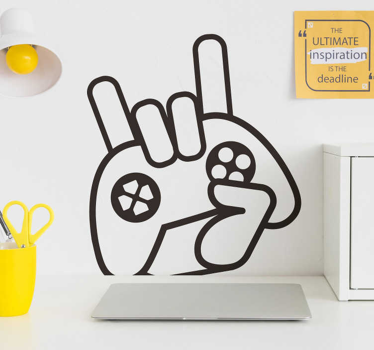 TenStickers. Gamer icon video game wall sticker. An iconic video gamer sign wall sticker with the design of a hand holding a video game remote. Available in different colours and sizes.