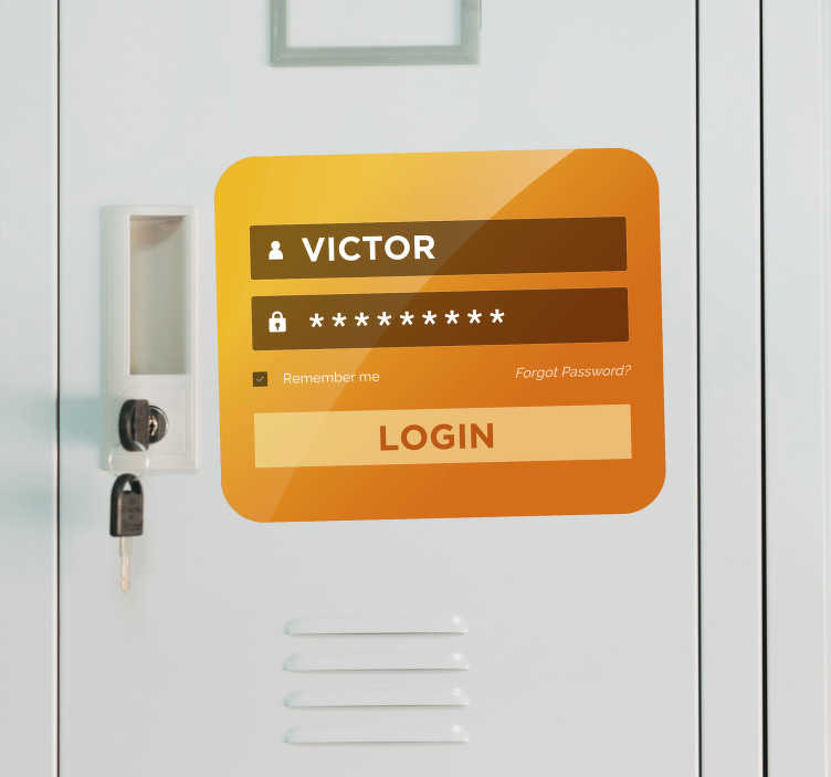 "TenStickers. 门登录业务贴纸. 这个自定义贴纸代表一个""登录屏幕"",就像计算机一样。在家里或办公室,这个门贴花是一个原始的装饰。"