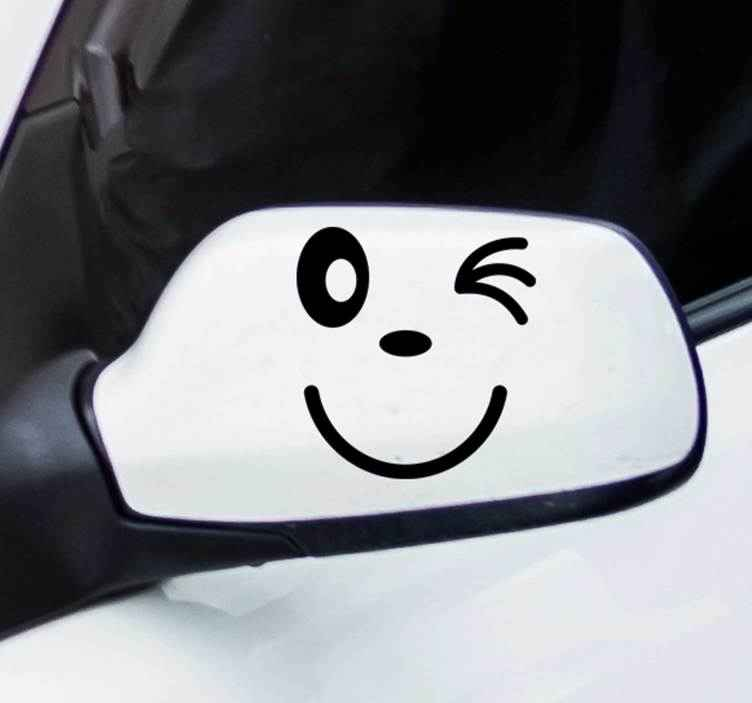 TenStickers. Cartoon Winky Face Car Sticker. Start turning heads and give your car a cheeky feel with this cute winky face car decal. Choose from over 50 colours and a range of sizes!