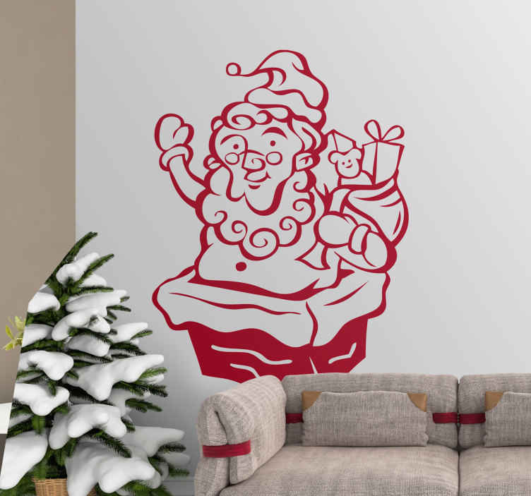 TenStickers. Naklejka dziecięca niespodzianka święty Mikołaj. Oryginalna naklejka z motywem świątecznym, która przedstawia świętego Mikołaja wyskakującego z komina z workiem prezentów na placach.