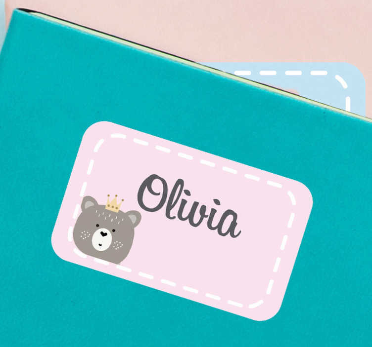 TenStickers. Name Label animal sticker. Decorative vinyl sticker with customization of choice to apply on any flat surface like personal accessories, stationery, wallets and more.
