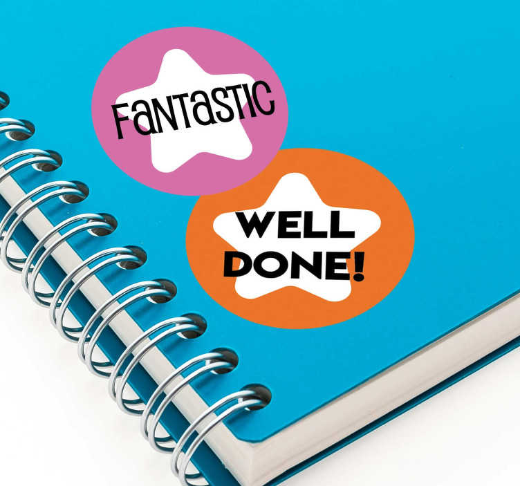 TenStickers. School Reward educational sticker. Educational sticker with text that applauds for success and good job. Buy it in the best suitable size to apply on notebooks , text books and more.