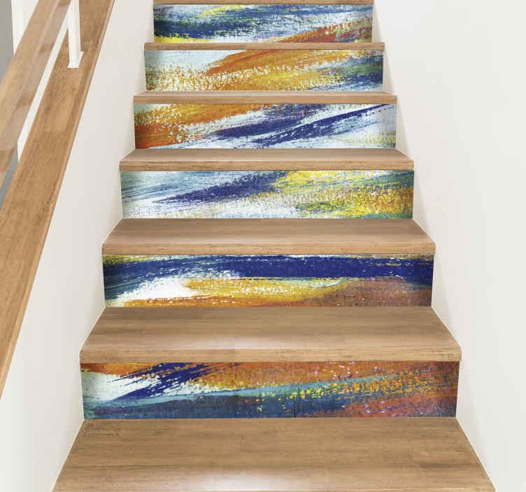 TenStickers. Sticker Texture Couleurs pour escalier. Ce sticker escalier au style abstrait imite à la perfection des traits de couleurs vives, comme si quelqu'un avait dessiné à la craie grasse.