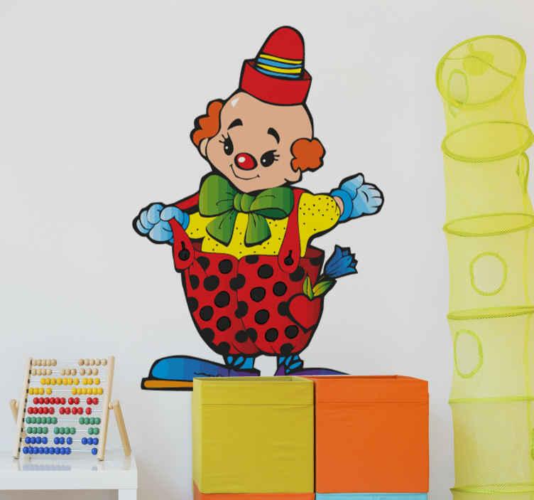 TenStickers. Autocolantes infantis palhaço bebé. Vinil decorativo para quarto infantil  - divertido, colorido e brincalhão ilustração de um palhaço de bebé. Ideal para decorar quartos e áreas para crianças.