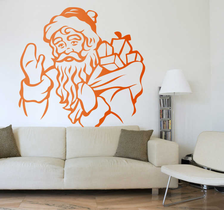 TenStickers. Sticker Père Noël cadeaux. Stickers illustrant le Père Noël portant sa hotte pleine de cadeaux à distribuer.Adhésif applicable aussi bien dans un salon ou sur une vitrine de magasin à l'approche de la fête de Noël.