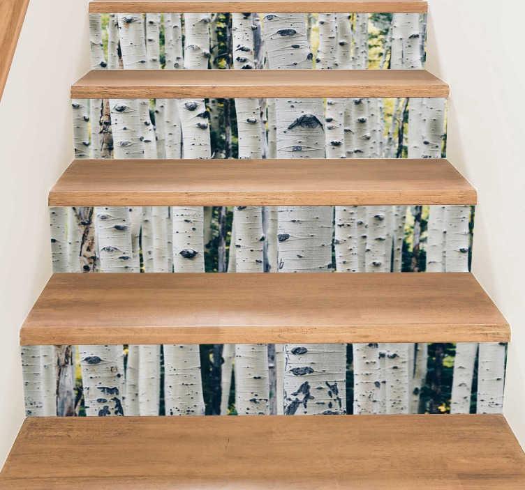 TenStickers. Adesivo per scale foresta. Crea un ambiente originale e naturale decorando con questo adesivo per scale la tua casa, ti sentirai in un luogo diverso immerso dagli alberi!