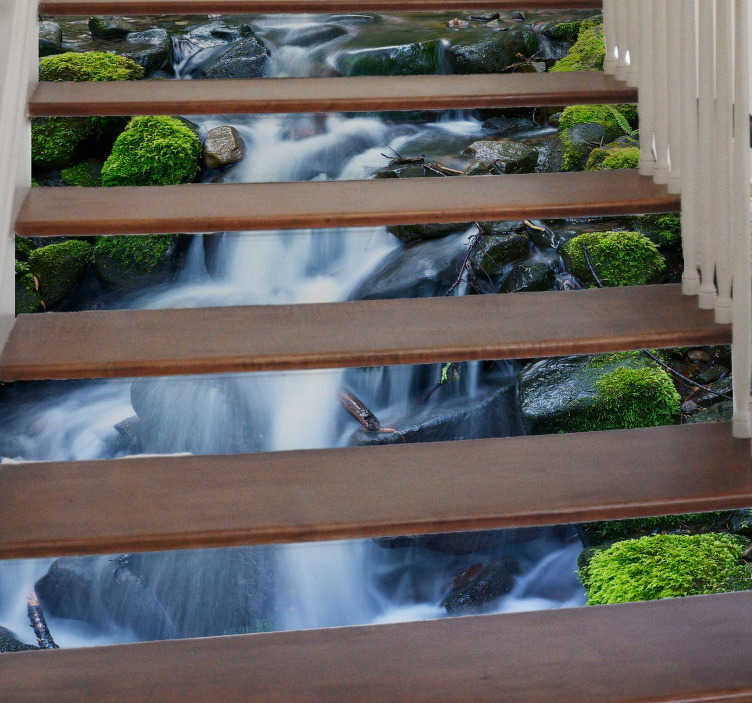 TenStickers. Stairs Waterfall Stickers. Add a waterfall effect to the area underneath your stairs with this fantastic collection of stair stickers! Easy to apply.