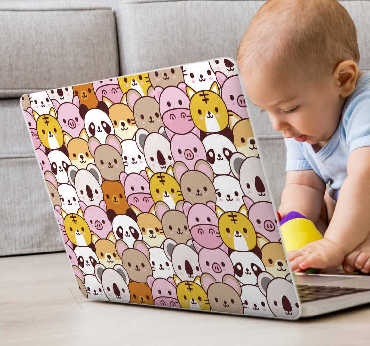 TenStickers. baby animals laptop sticker. This laptop vinyl represents several baby animals, smiling happily to anyone who will see your computer. For any type of device.