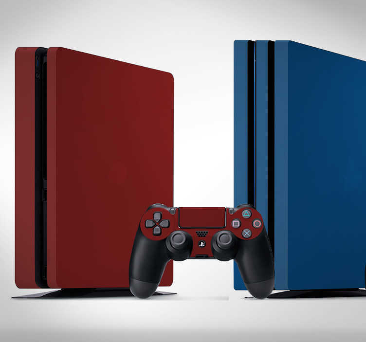 TenStickers. Naklejka na ścianę kolory jednolite PS4 kolor. Naklejka dekoracyjna kolory jednoliteto gładka i matowa nalepka na Twoje PS4 , która idealnie dopasuje sie do rozmiarów!