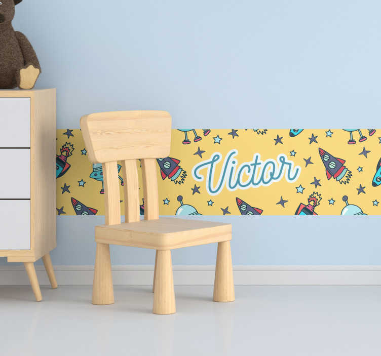 TenStickers. Customizable name border border sticker. Boarder wall sticker with the design of space elements to decorate the bedroom space of kid with a desired name customized .