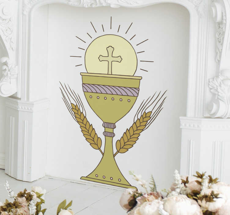 TenStickers. Communion chalice decal. Buy our communion chalice wall sticker to decorate the home to create a religious aura in it . Choose the best preferred size needed.