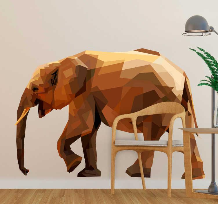 TenVinilo. Vinilo animal salvaje elefante asiatico geométrico. Fantástica pegatina formada por la ilustración de un elefante asiático con un diseño de estilo geométrico muy original. +50 Colores Disponibles.