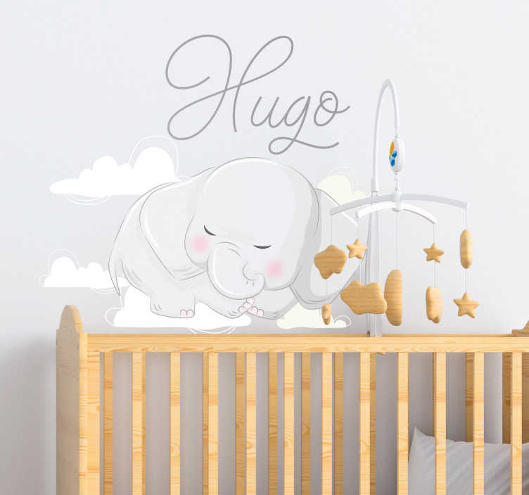 TenStickers. Elephant sleeping on named clouds illustration sticker. Decorate the bedroom of an infant with this cute sleeping elephant wall sticker that can be personalized with any name of of choice.