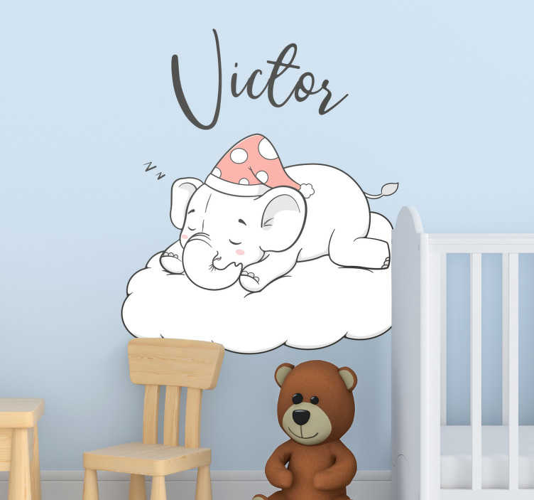 TenVinilo. Vinilo pared elefante en las nubes con nombre. Pegatina personalizada para la habitación de tu bebé, formada por el diseño de un elefante durmiendo sobre una nube. Envío Express en 24/48h.