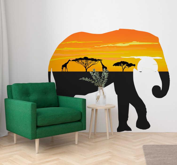 TenVinilo. Vinilo decorativo de animales elefante paisaje África. Vinjlo adhesivo colorido de elefante africano gigante con increíble paisaje africano en él. Cómprelo en el mejor tamaño que necesite