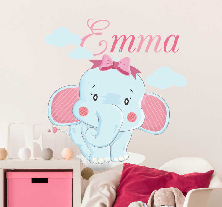 TenStickers. Elephant for girls with name illustration sticker. Animal wall art sticker with the design of a cute elephant with a customisable name for children's bedroom decoration.Provide the desired name for it.
