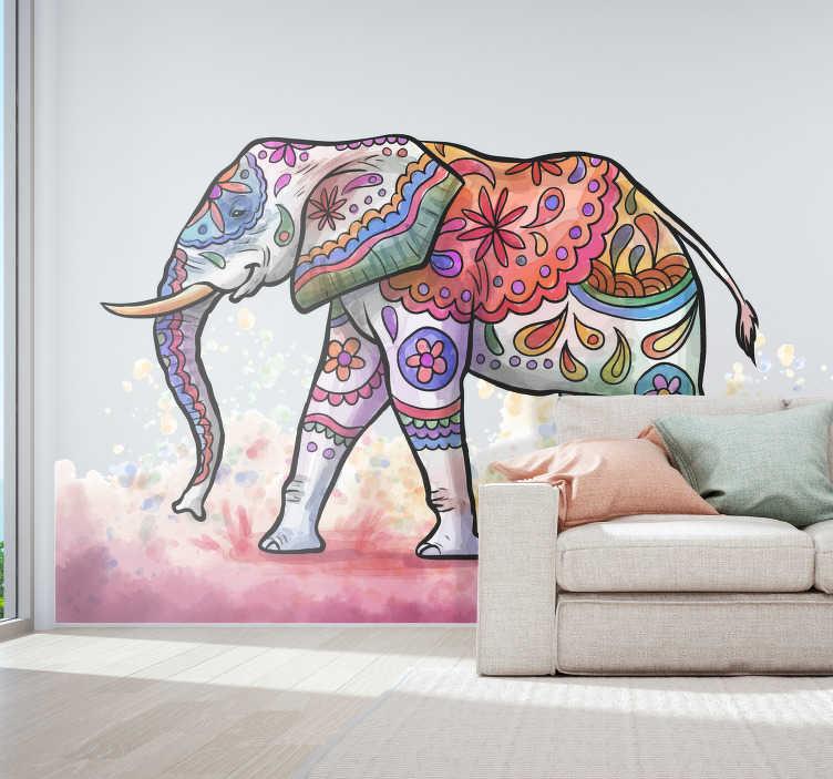 TenStickers. Sticker Maison éléphant peint. L'éléphant représenté sur ce sticker animal sauvage est désigné dans un style de peinture psychédélique qui donnera des couleurs à vos murs.