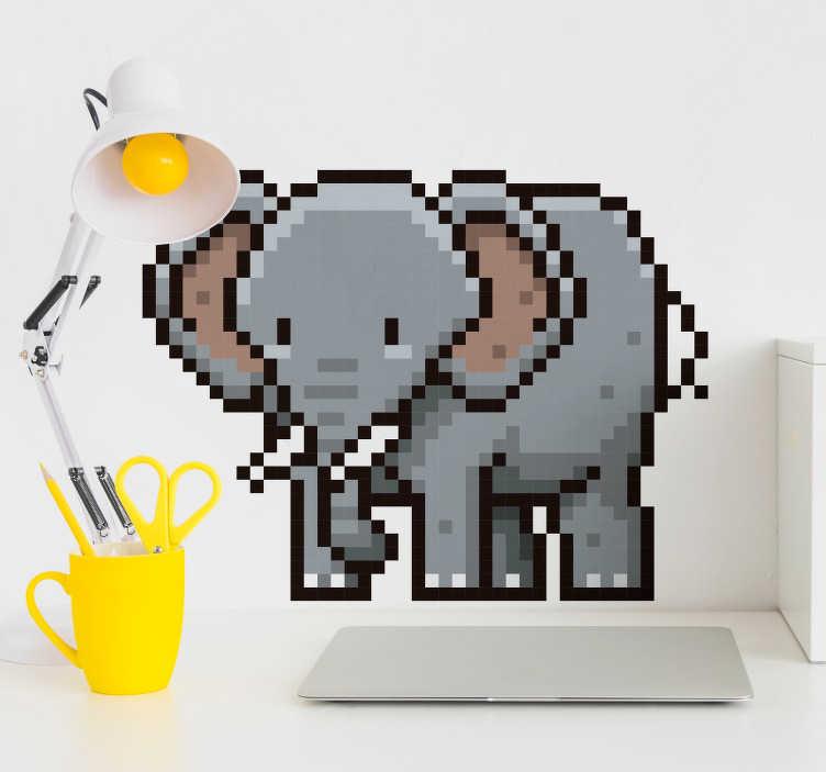 TenStickers. Sticker Maison éléphant pixel. L'éléphant de cet adhésif décoratif animal est désigné avec un style pixélisé, qui vous permettra de décorer toute surface lisse de votre décoration.