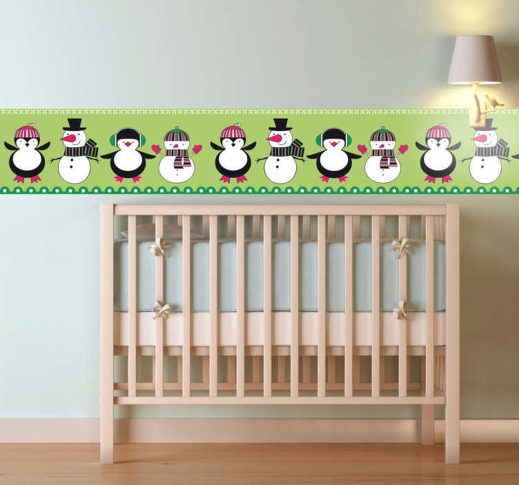 TenStickers. Penguin and Snowman Wall Border Sticker. A fantastic wall border illustrating snowmen and penguins from our collection of penguin wall stickers for the little ones.