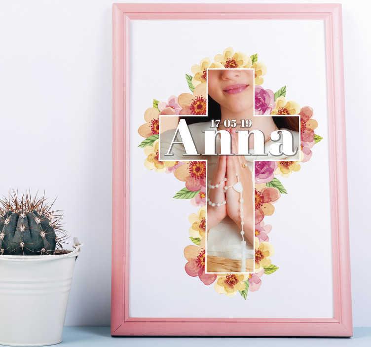 TenVinilo. Vinilo casa mi primera comunión personalizable. Pegatina para comunión formada por una cruz flora, la cual se puede personalizar tanto la imagen como el texto. Promociones Exclusivas vía e-mail.
