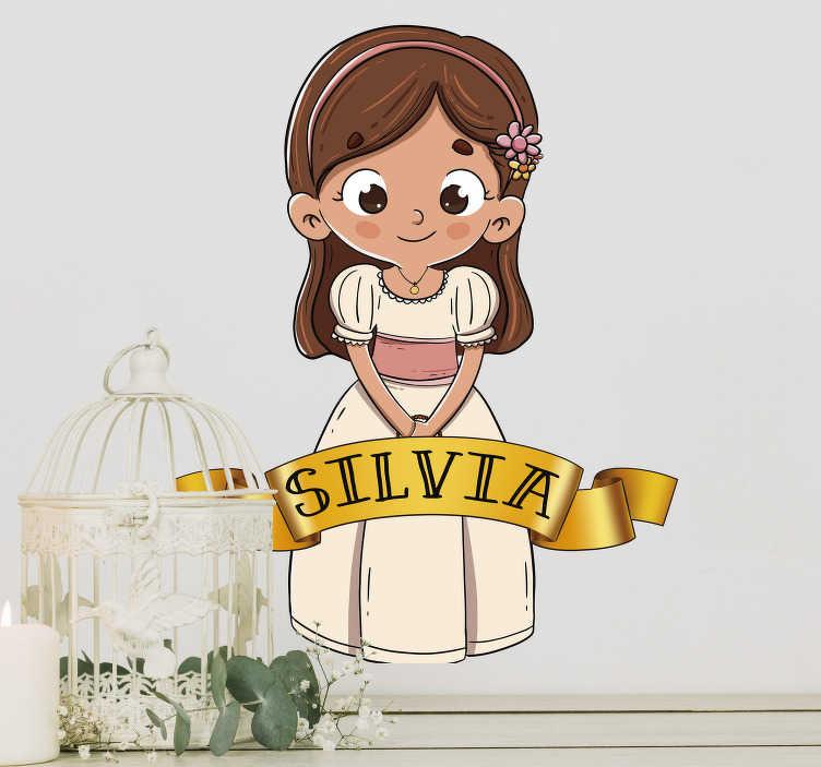 TenVinilo. Vinilo pared niña comunión con nombre. Pegatina silueteada totalmente personalizable formada por el dibujo de una niña vestida de comunión. Descuentos para nuevos usuarios.