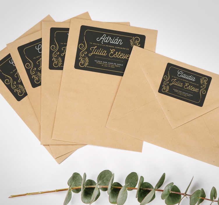 TenVinilo. Pegatina recordatorio comunión con invitados. Pack formado por 10 pegatinas para las invitaciones con toda la información importante de la celebración de la comunión. Precios imbatibles.
