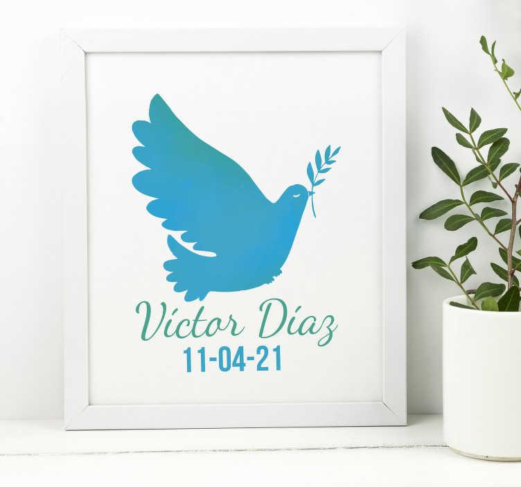 TenVinilo. Vinilo para casa paloma de la paz con nombre. Pegatina para comunión totalmente personalizada en cuanto a medidas y texto, con el dibujo de una paloma de la paz. Vinilos Personalizados a medida.