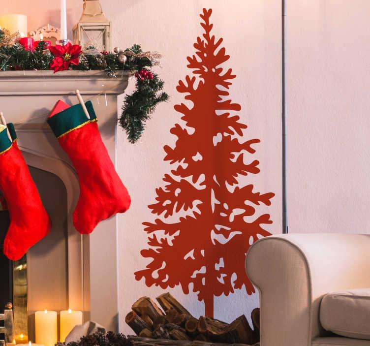 TenStickers. Silhuet juletræ klistermærke. Dekorativt juletræ lavet som silhuet og tilgængelig i mere end 40 forskellige farver. Fremstillet af kvalitets vinyl og tilgængelig i mange størrelser