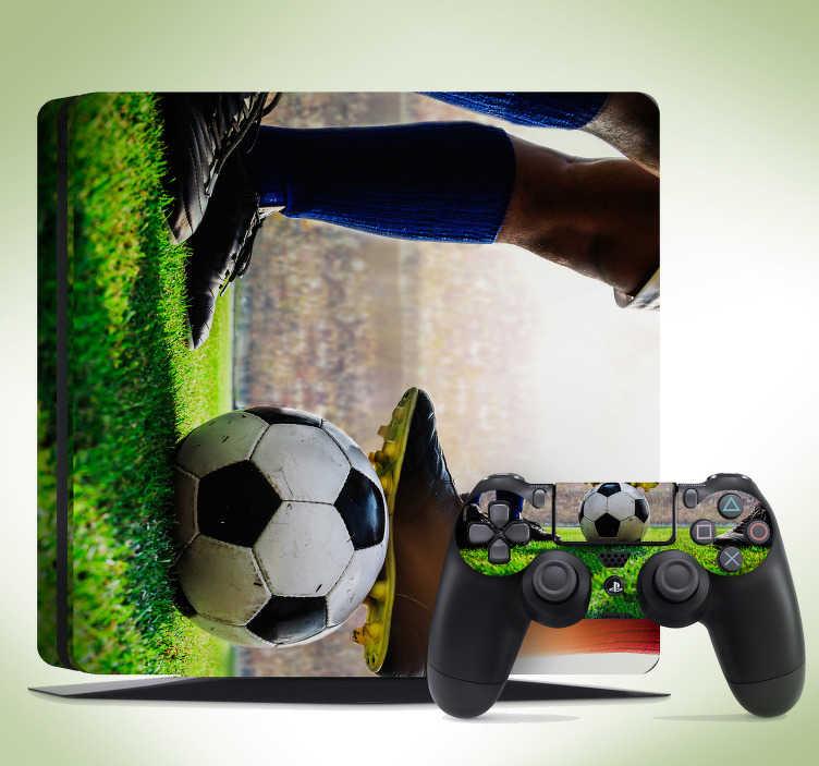 TenVinilo. Vinilo PS4 estadio de futbol. Lámina autoadhesiva para PS4 formada por el diseño de un estadio de fútbol y de la silueta de un jugador. Descuentos para nuevos usuarios.