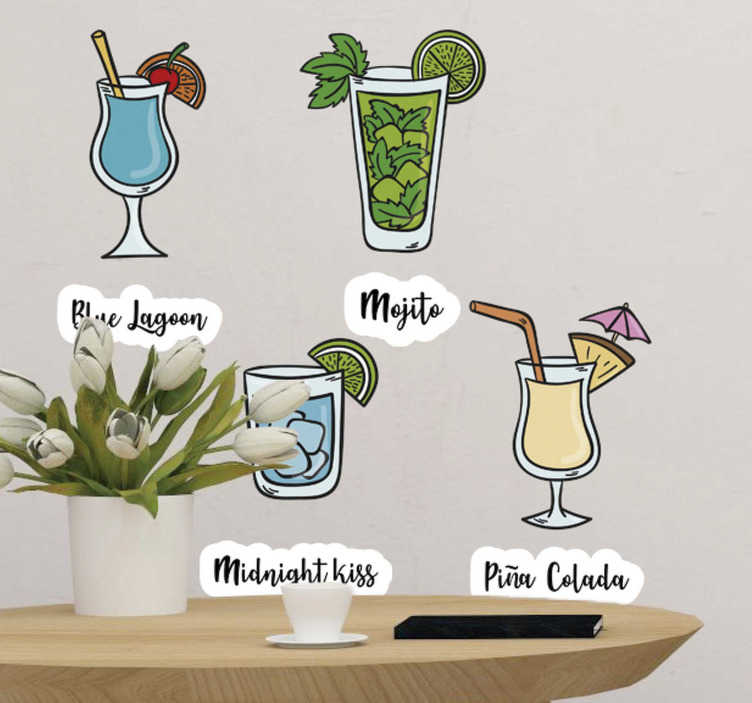 TenStickers. summer cocktail drink wall sticker. This delightful summer cocktails drinks sticker is definetely the best way for decorating your house walls. Sign up for 10% off!