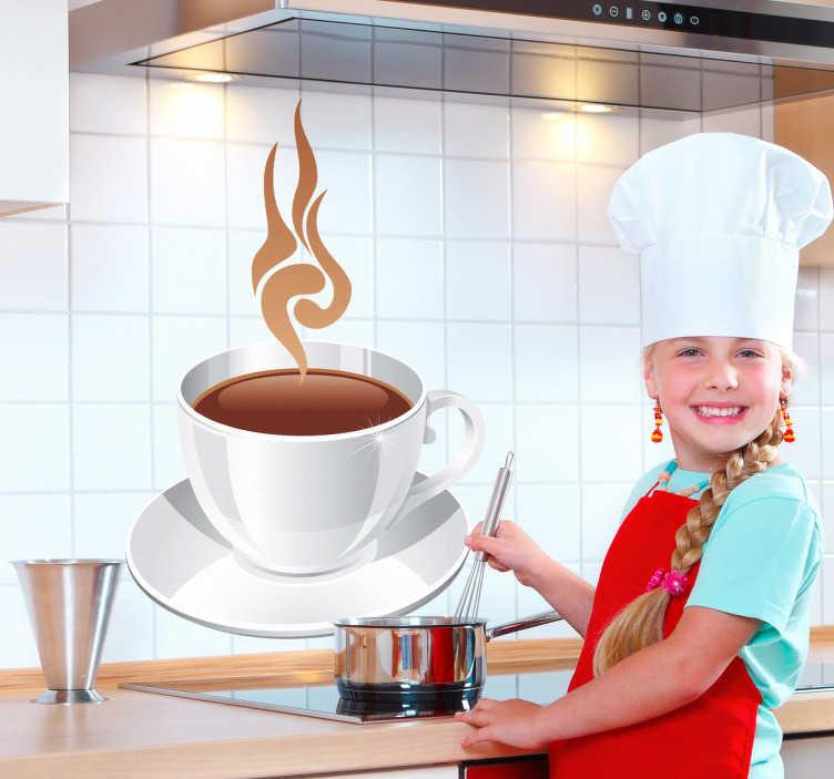 TenStickers. Sticker keuken tas koffie. Een leuke muursticker van een dampend kopje koffie. Een mooie wandsticker voor de decoratie van uw keuken of eetkamer.