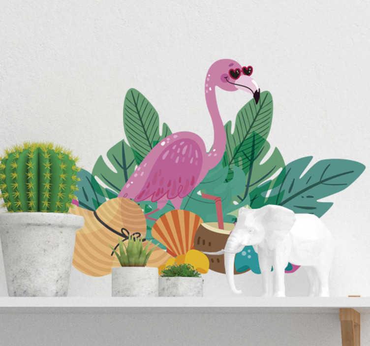 TenVinilo. Vinilo pared summer flamingo. Mural autoadhesivo formado por el diseño de un flamenco y varios elementos tropicales, rodeados de hojas de palmera. Vinilos Personalizados a medida.