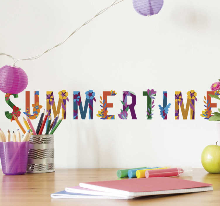 TenStickers. Summertime floral text sticker. Make it summertime in your home all year round with this floral summertime text wall decal. Choose from a range of sizes!