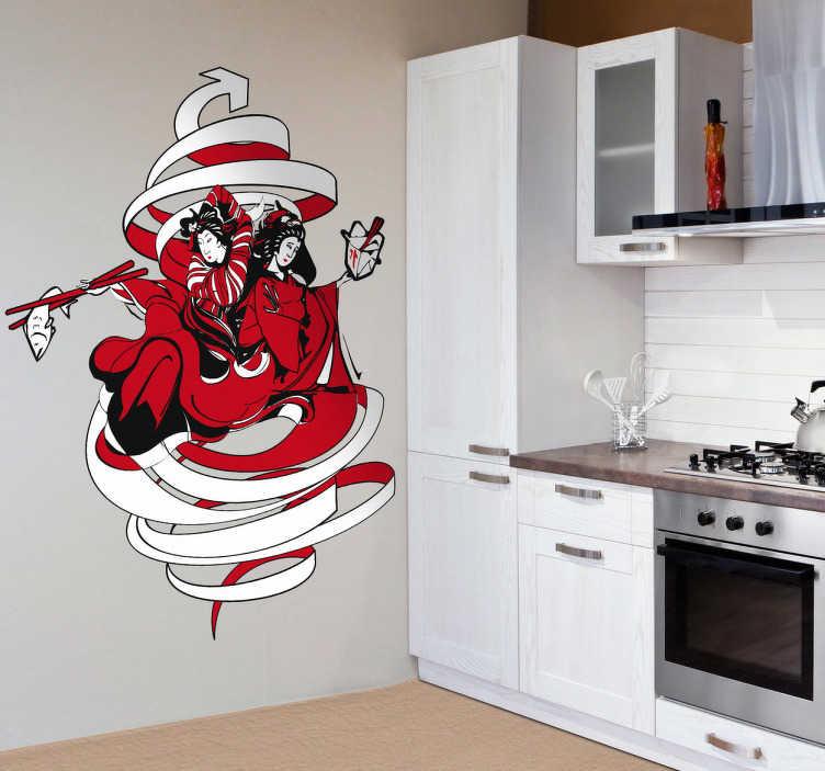 Adhesivo ilustración comida japonesa