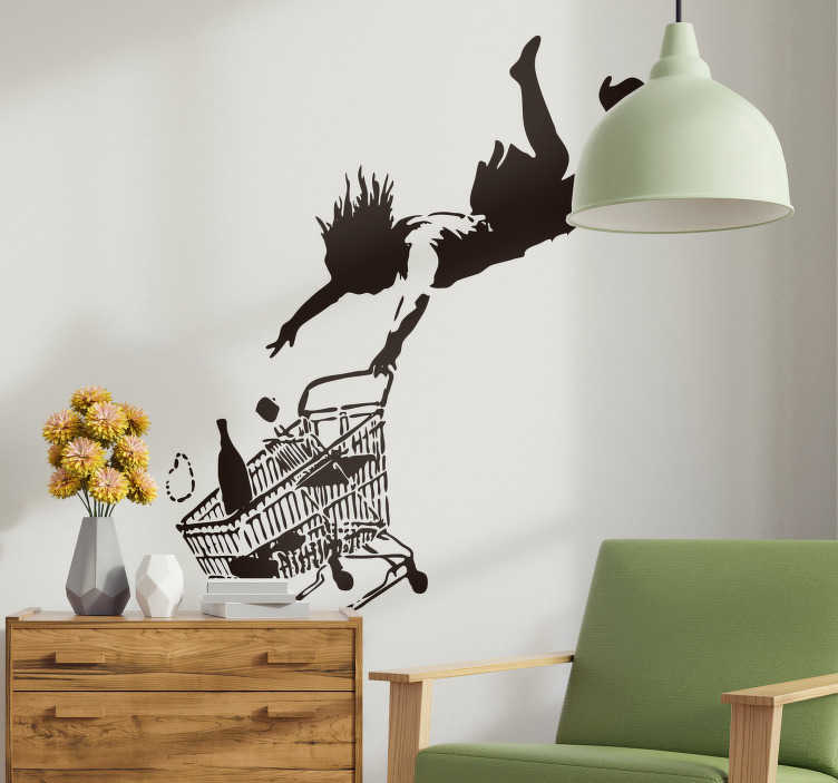 TenStickers. Banksy buy auction skid vinyl wall art. Home wall art sticker with the design silhouettes of Banksy with shopping cart. Available in different sizes and colour. Easy to apply.
