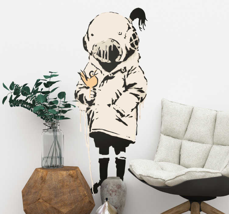 TenStickers. Girl with bird Banksy Living Room Wall Decor. Bring the street art off of the streets and into your living room with this Banksy girl wall decal. Choose from a wide range of sizes!